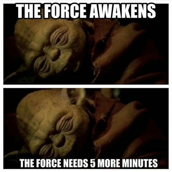 Star wars the force awakens the force needs 5 minutes #starwars #yoda #sleep