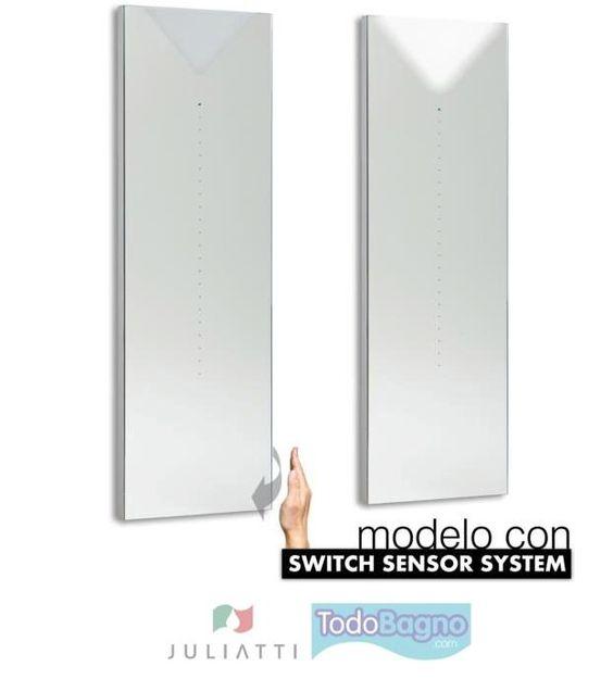 Espejos de baño de la marca italiana Juliatti al 50% de descuento. Aprovecha nuestras Ofertas. Sensor SWITCH SENSOR SYSTEM ( se enciende y se apaga al pasar la mano cerca del sensor). Alta calidad y diseño. http://www.todobagno.com/comprar-espejos-juliatti-online