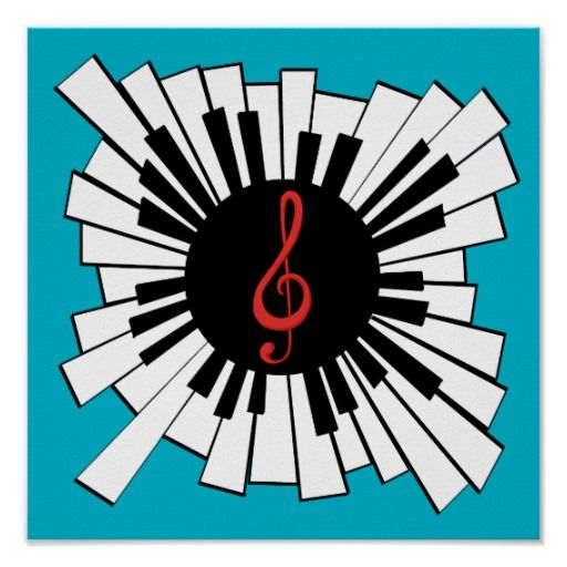 Music and piano lovers radial keyboard and clef poster | Zazzle