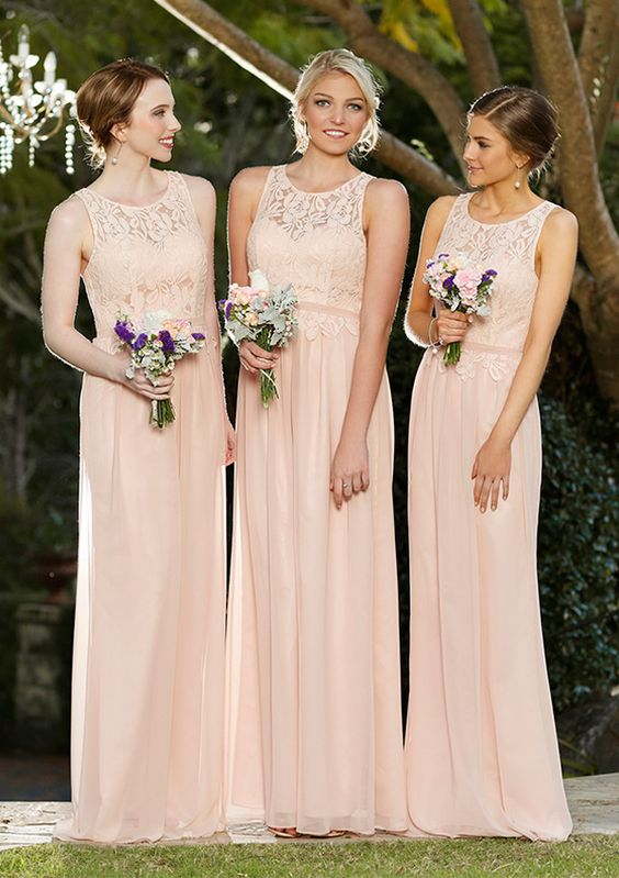 Best Wedding Dresses Brisbane : Blush coloured bridesmaid dresses are perfect for a romantic wedding