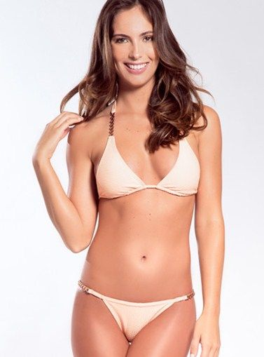 Monique-Sanibel Triangle Two Piece Bikini/ This design is romantic yet stylish with unique gold hardware details that will make you look delicate and intriguing. PRICE $160