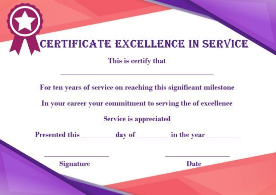 10 Years Service Award Certificate 10 Templates To Honor Years Of Service Template Sumo Award Certificates Service Awards Certificate