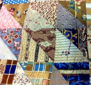 A selection of Prussian blue fabrics from a mix of British and American quilts approximately 1800- 1850.