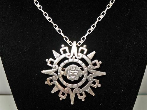 Vintage Taxco Mexico Sterling Silver Aztec Sun God Pendant Necklace Signed ERE