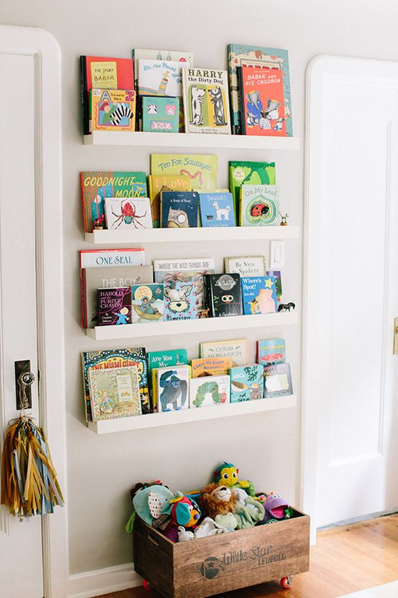 "Such a cute way to do ""book shelves"" in an unusual space! Could also transition shelves for picture frames, etc. zoe-chicco-inspiring-mom-6"