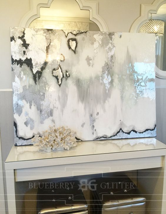 "Sold!! Acrylic Abstract Art Large Canvas Painting Gray, Silver, Ikat Ombre Glitter with Glass and Resin Coat 36"" x 48"" real silver leaf"