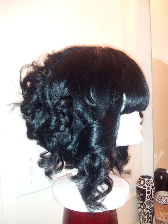 Jet Black Slanted Bob With Chinese Bangs Curls Full Custom Wig Hair Styles Wavy Bob Hairstyles Short Hair Styles Easy