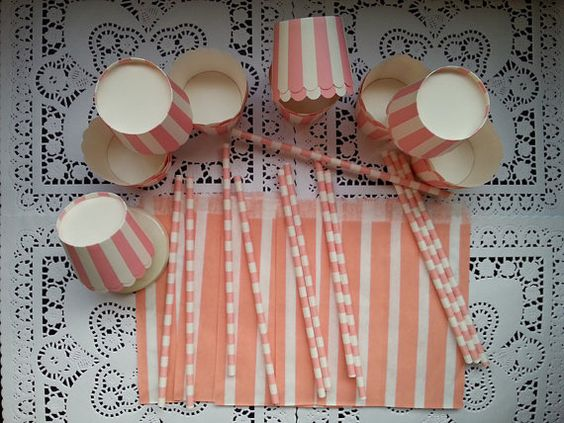 Party SuppliesPink White Stripe Baking by PinkSweetPartyStore