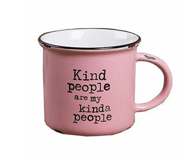 "This vintage pink ""Happy Camper"" camp mug will have you feeling nostalgic about fun times spent with family and friends on camping trips! The generous size is perfect for coffee, soup or morning oatme"