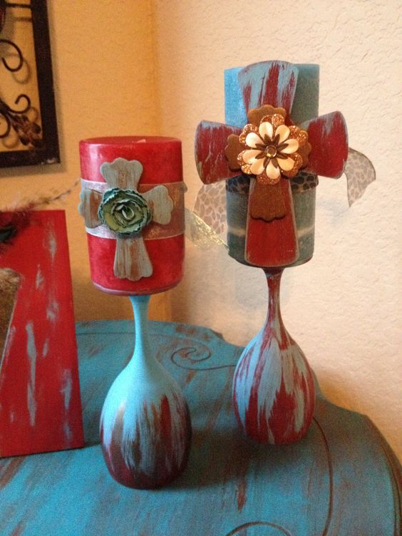 Wine glasses made into candle holders. Love this!!