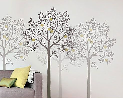 Tree stencil fruit trees and stencils on pinterest for Free wall painting designs