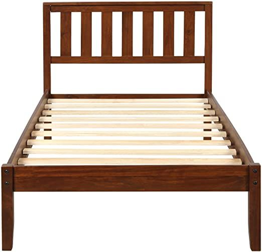 Kimhome Wood Platform Twin Bed Wood Bed Frame Twin Size With Headboard And Wood Slat Support Walnut Wooden Platform Bed Wood Platform Bed Wood Bed Frame Twin bed frame with slats