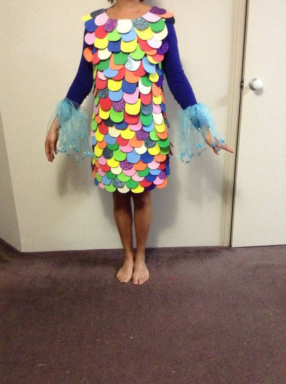 Rainbow fish costume pull of scales to give to students for Rainbow fish costume