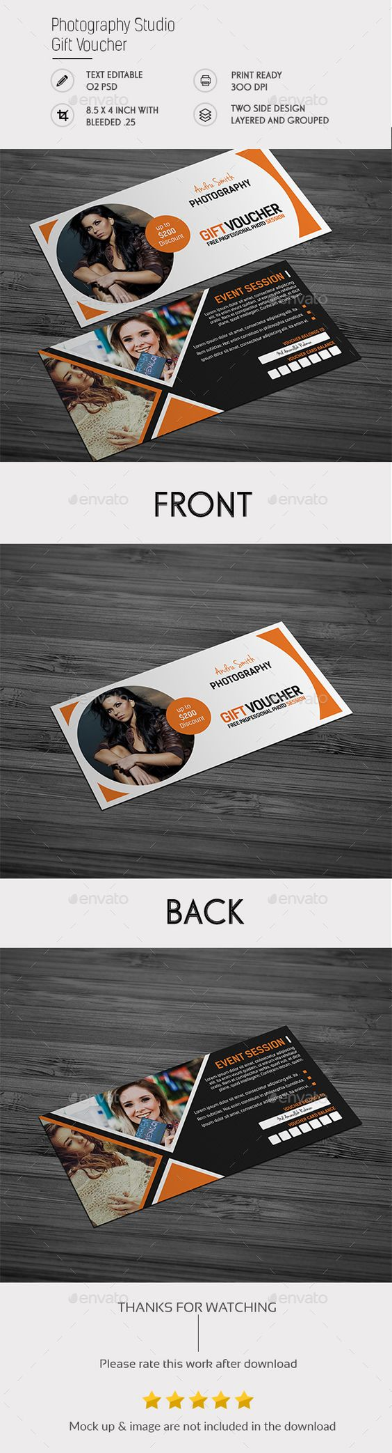 Photography Studio Gift Voucher Template PSD #design Download: http://graphicriver.net/item/photography-studio-gift-voucher/14511390?ref=ksioks