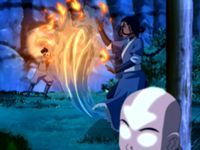 Katara using a water shield in a fight with Zuko.