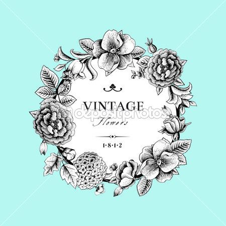 Beautiful card with a round wreath of different flowers of vintage garden. — Illustration #37652927