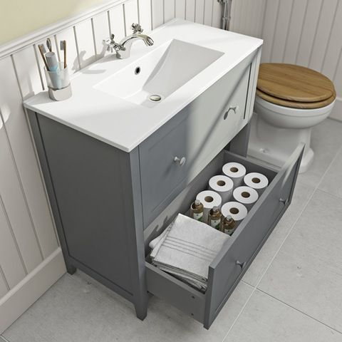 sale retailer c3eb5 c89ed The Bath Co. Camberley satin grey floorstanding vanity unit ...