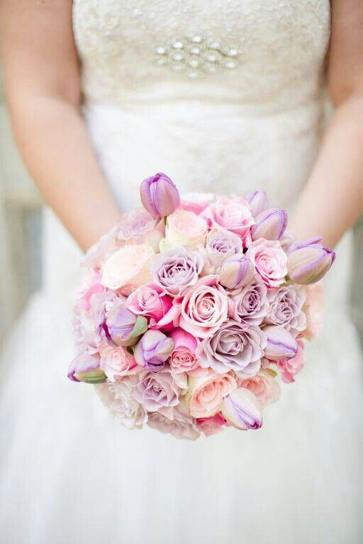 Pastel bouquet with roses and tulips