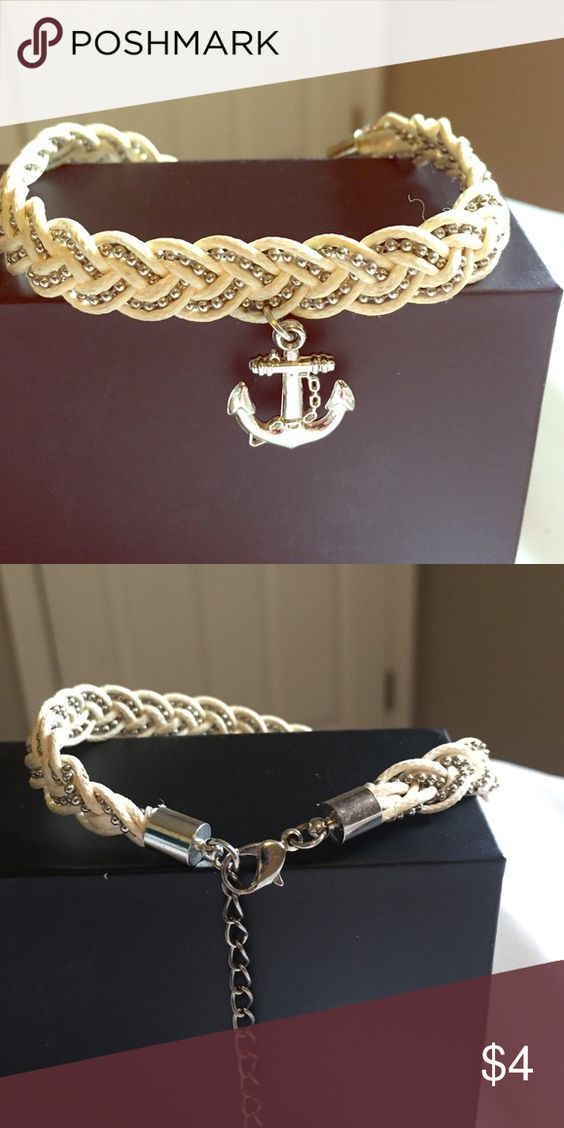Anchor bracelet Off white braided anchor bracelet with adjustable clasp. Jewelry Bracelets