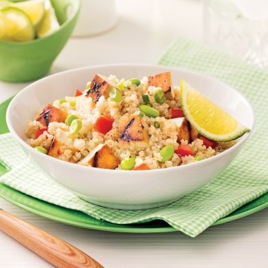 Salade de quinoa et tofu grillé à l'érable - Soupers de semaine - Recettes 5-15 - Recettes express 5/15 - Pratico Pratiques: