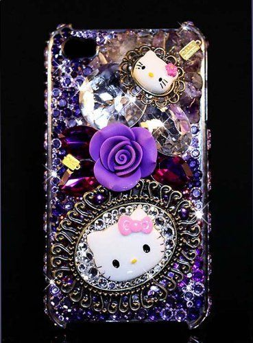 "iPhone 4 & 4s Swarovski Crystal Bling Diamante Case Cover - ""PURPLE PASSION KITTY"" by OMG Crystals, http://www.amazon.com/gp/product/B007PF43R4?ie=UTF8=213733=393177=B007PF43R4=shr=abacusonlines-20=1355525434=8-105=bling+embellishment via @amazon"