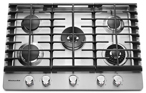 Stainless Steel 30 5 Burner Gas Cooktop With Griddle Kcgs950ess Kitchenaid In 2020 Gas Cooktop Cooktop Kitchen Aid