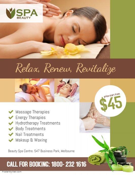 Spa Salon Beauty Flyer Poster Template Spa Flyer Massage Therapy Massage Business