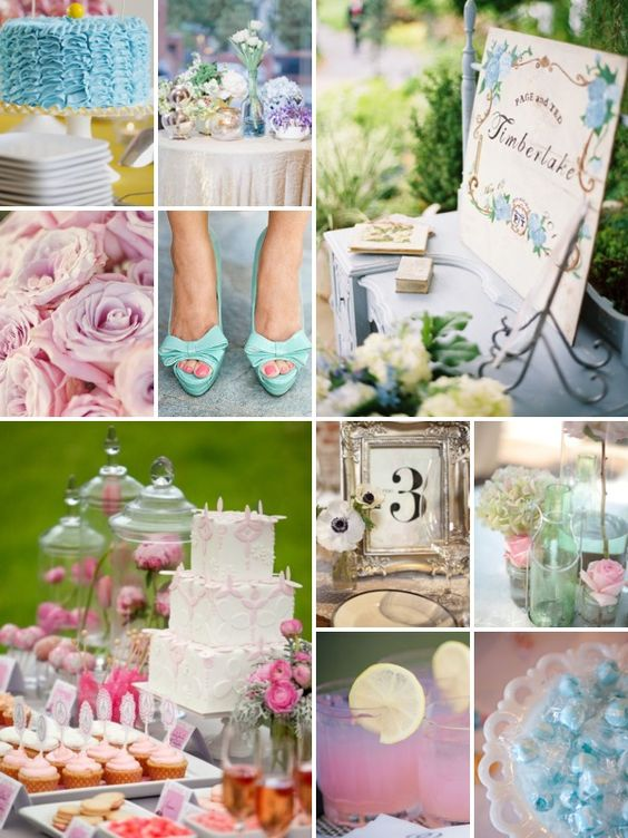 Pale blue and rose