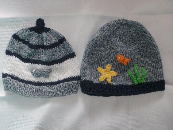 www.annastricken.at fuer Baby handarbeiten   Zwei Mützen aus Baumwollgarn, für die wärmere Jahreszeit, wurden in ...