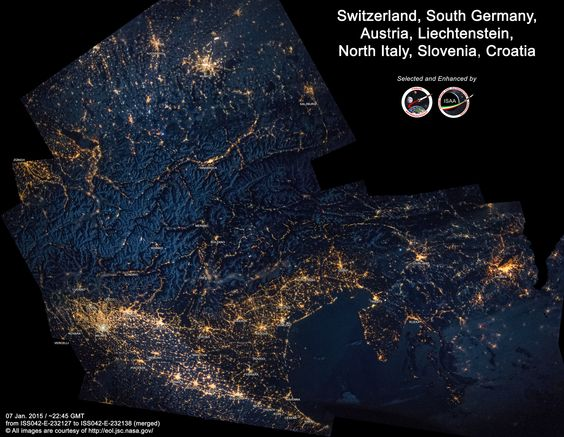 """https://flic.kr/p/qVHKbN   Switzerland, South Germany, Austria, Liechtenstein, North Italy, Slovenia, Croatia   07 Feb. 2015 / ~22:45 GMT from ISS042-E-232127 to ISS042-E-232138 (merged) © All images are courtesy of <a href=""""http://eol.jsc.nasa.gov/"""" rel=""""nofollow"""">eol.jsc.nasa.gov/</a>"""