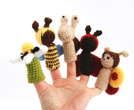 5 finger puppet crocheted ladybird snail honeybee by crochAndi, $25.00