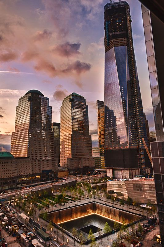 NYC. Freedom Tower Construction and the World Trade Center Memorial.