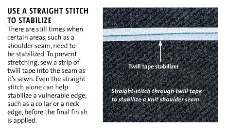 Don't want that seam to stretch out of shape? How to stabilize stretch fabric seams...Threads magazine