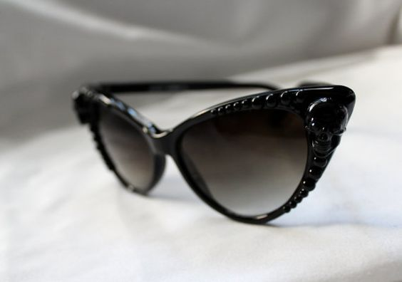 Skull & Pearl Cat Eye Sunglasses with Case and by DahliaDeranged, $52.00. WANT.