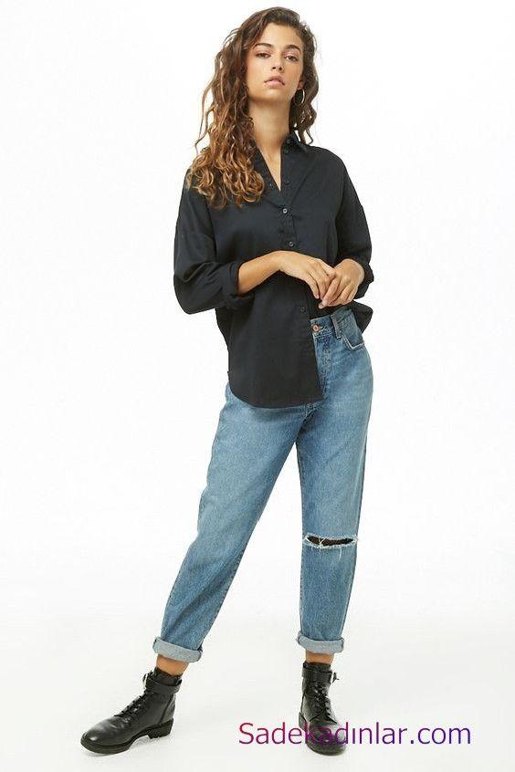 Siyah Gomlek Kombinleri Bayan Mavi Yirtik Mom Jeans Siyah Uzun Kol Salas Gomlek Siyah Postal Bot Postal Gomlek Moda
