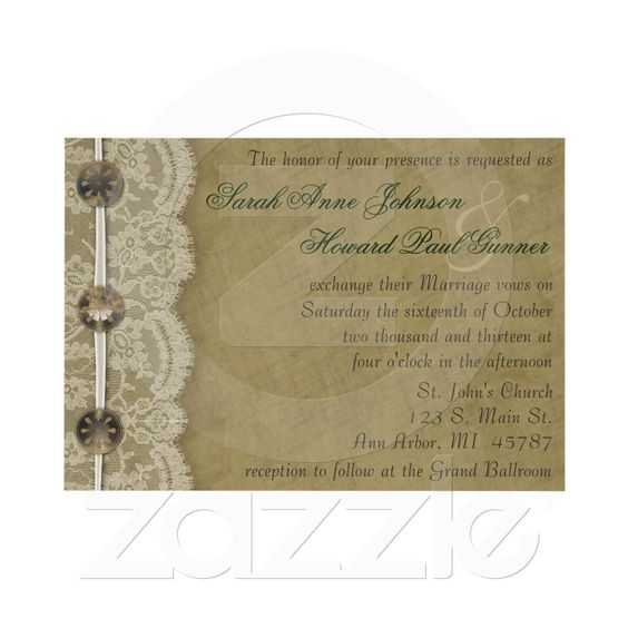 Vintage Buttons and Lace Invitation from Zazzle.com