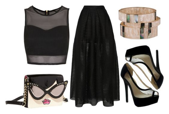 """""""Mesh Style"""" by emcf3548 ❤ liked on Polyvore featuring Betsey Johnson, Maje and Topshop"""
