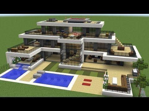 Minecraft How To Build A Modern Super Mansion House 3dwallpapermodern Build House Man In 2020 Easy Minecraft Houses Cool Minecraft Houses Minecraft Modern