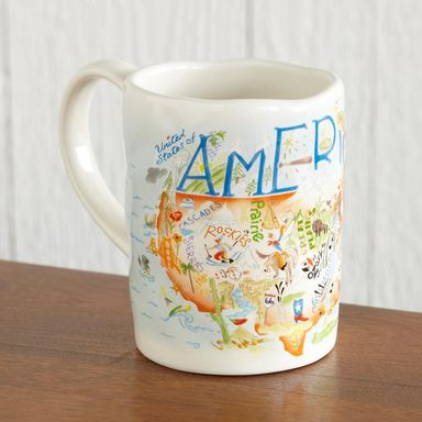 U. S. SOUVENIR MUGS--Nostalgic fun, famous sights, events and personalities of many states and America herself on stoneware mugs. Microwave and dishwasher safe, in gift tins. Not all states are available. Imported. 12 oz.