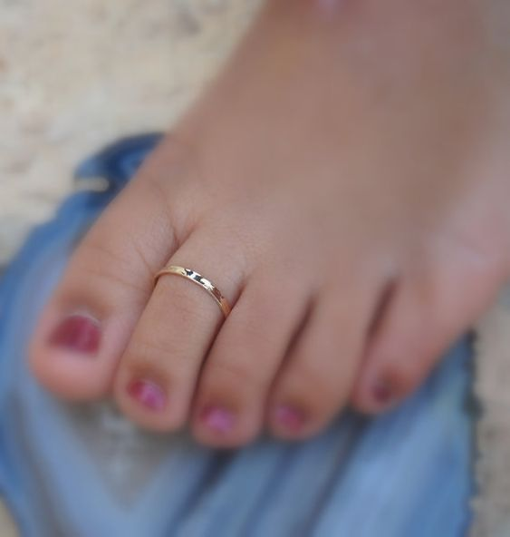 Solid 14k Yellow Gold Feet Toe Ring 6mm