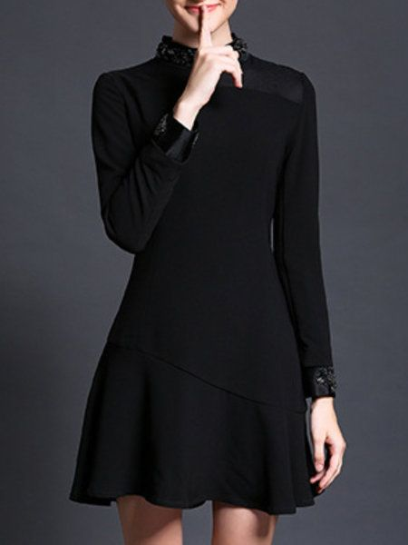 Shop Mini Dresses - Black Long Sleeve Flounce Mini Dress online. Discover unique…