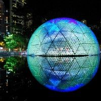 Rising Moon, a temporary pavilion during the 2013 Hong Kong Mid-Autumn Festival lit with LEDs