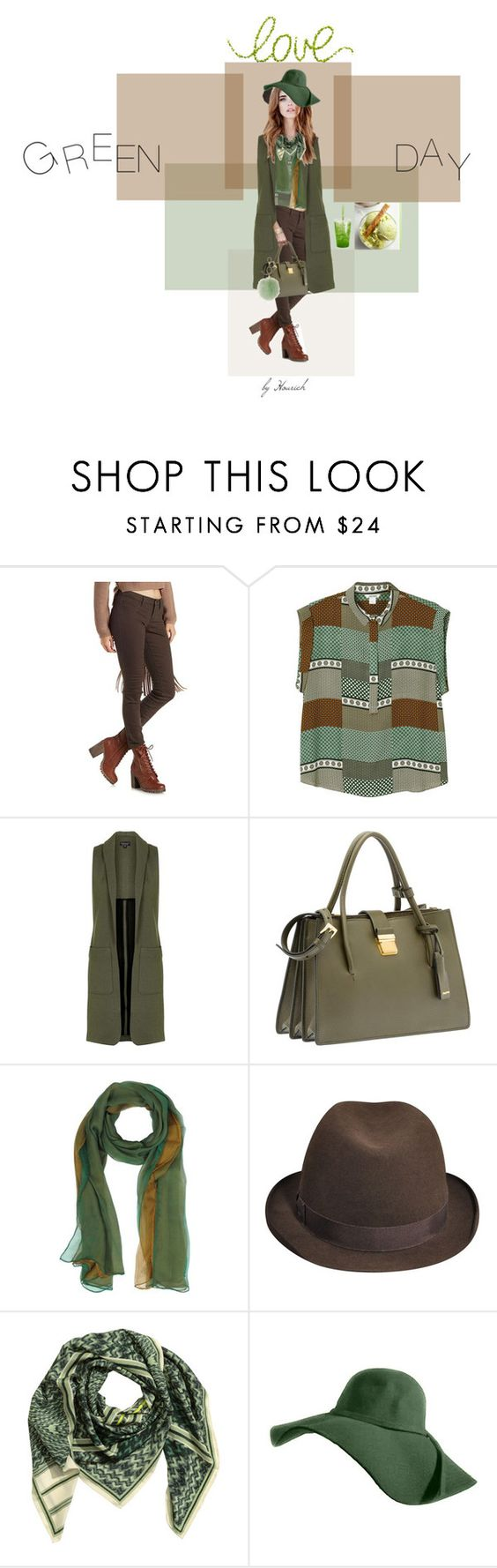 """Green outfit"" by hourieh ❤ liked on Polyvore featuring Cello, Monki, Topshop, Miu Miu, Laura Biagiotti, Dorothy Perkins, Whiteley, love and greenday"