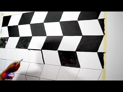 اصنع بنفسك ديكور خداع بصري ثري دي طريقة سهلة جدا Optical Illusion 3d Wall Design Youtube Bedroom Wall Paint Wall Painting Contemporary Rug