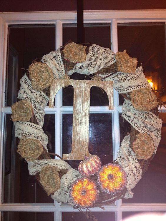 Fall wreath, burlap roses, easy cheap fall decor!