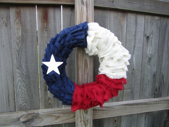 Texas Lone Star Burlap and Twill Wreath by SomethingCutebyKim, $49.00