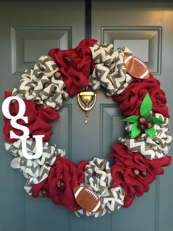 Ohio State Buckeyes Burlap Wreath
