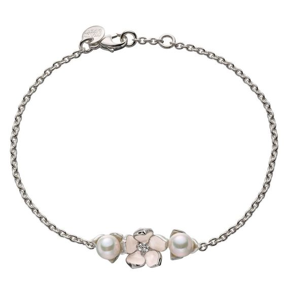 Shaune Leane Sterling Silver Single Flower Bracelet | From a unique collection of vintage chain bracelets at https://www.1stdibs.com/jewelry/bracelets/chain-bracelets/