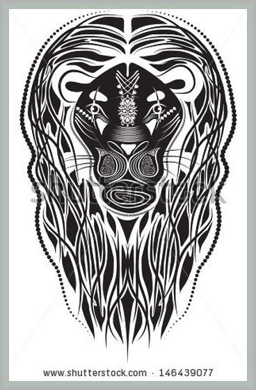 Vector illustration of a tribal animal - Lion Head - in graphic black and white style