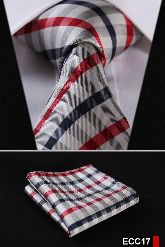 "PLAID NECKTIE Stripe 3.4""100%Silk Wedding Jacquard Woven Necktie Pocket Square set:"